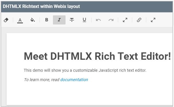 Text Editor Integration - Text editors integration  Webix Docs