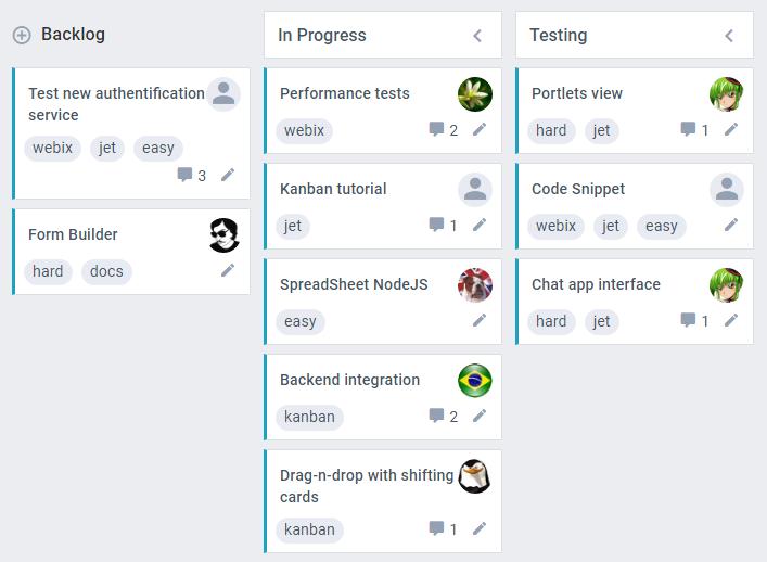 Kanban Skins of UI Complex Widgets, Kanban Board Webix Docs